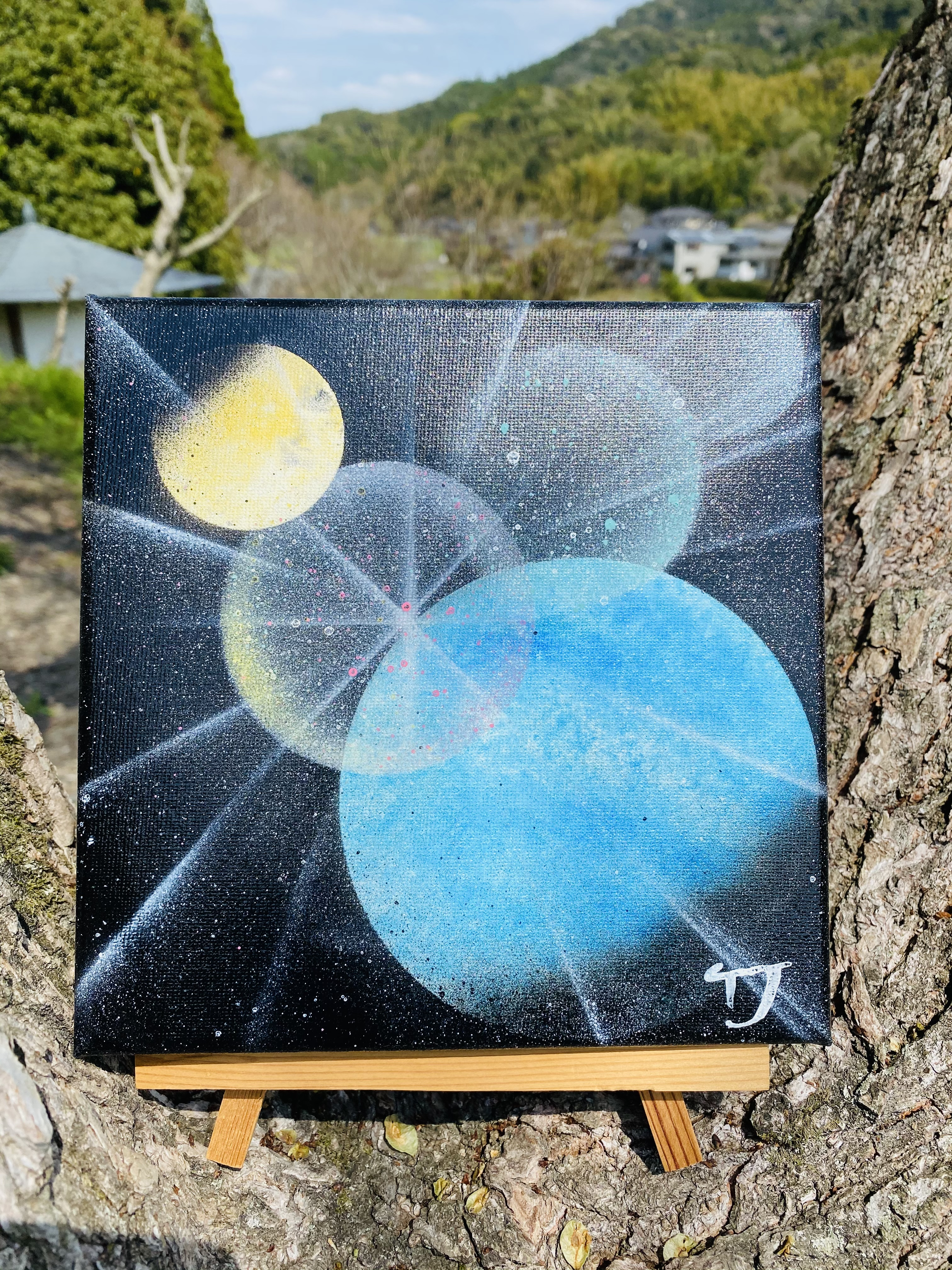 ※SOLDOUT 魂のspray art canvas ver.〜月と地球〜